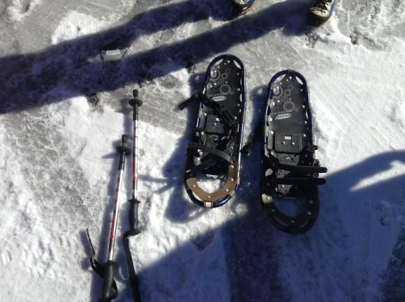 スノーシュー。多分、足裏の表面積を拡げることで雪にかかる力を拡散しているんだと思う。